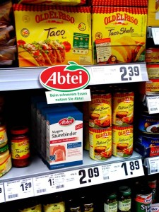 "Pharma-Abtei products: In supermarket we situated a product that helps the digestive tract, next to heavy meals. Text: ""After heavy meals, use Abtei""."